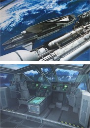 Spaceship docking and cabin interior